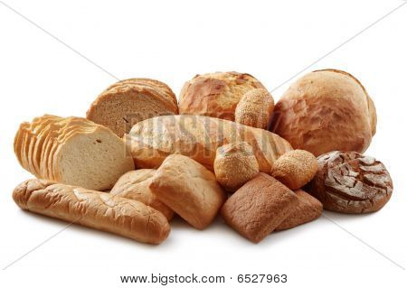 Group of different bread products