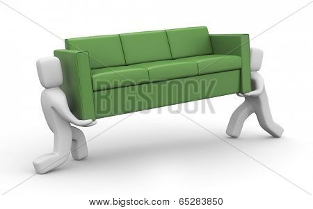 Moving metaphor. People carry sofa