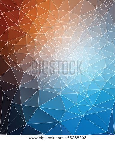 Modern triangle mesh stained glass mosaic design