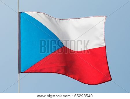 Czech Flag In The Wind Against  Sky