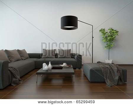 Living room interior with gray couch, coffee table and floor lamp