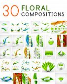 Mega collection of vector green leaf compositions, wave line backgrounds poster