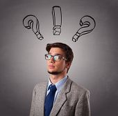 Young man standing and thinking with question marks overhead poster