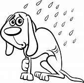 Black and White Cartoon Illustration of Poor Homeless Dog in the Rain for Coloring Book poster