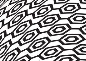 Pattern Hexagon, Black And White