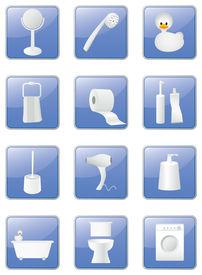 Bathroom Equipment Icons Set, Blue Buttons