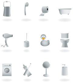 Bathroom Equipment Set Of Gray Icons, Vector