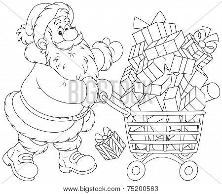 Santa with a shopping cart of gifts
