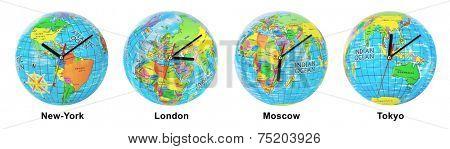 Group of clocks timezone isolated on white background