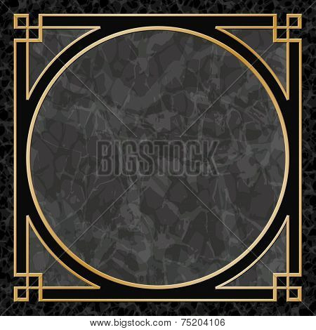 Black Marble Background with Gold Frame, Border - Vector EPS 10
