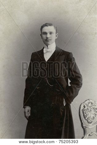 MOSCOW, RUSSIA, -  CIRCA 1900s: Antique photo, portrait of a moustached man, circa 1896