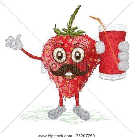 Strawberry Fruit Mustache