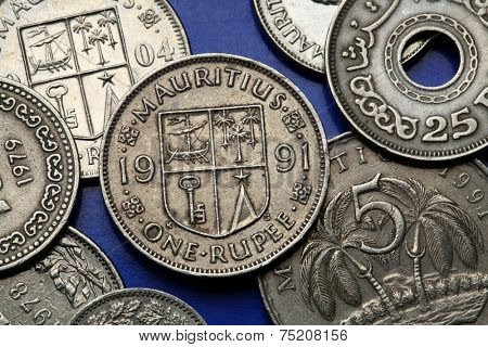 Coins of Mauritius. Mauritian national coat of arms depicted in the Mauritian rupee coin.