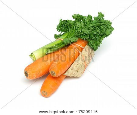 Soup Vegetables Isolated On White Background