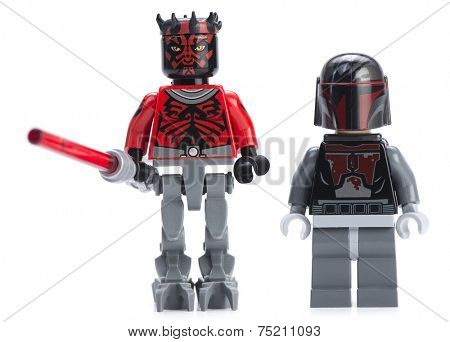 Ankara, Turkey - April 24, 2014: Lego Star Wars minifigure Darth Maul and Mandalorian Super Commando isolated on white background.
