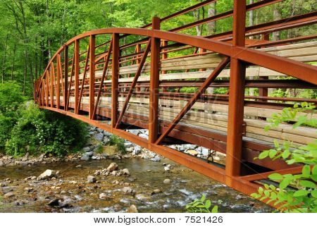 Perspective of Red Bridge Over Stream