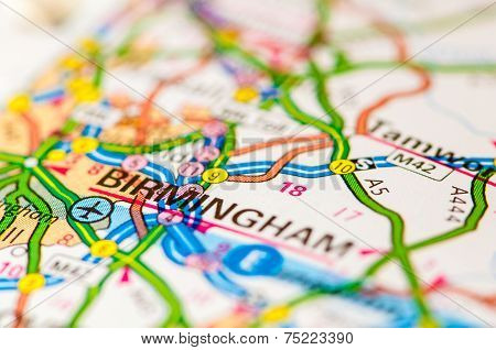Close-up on Birmingham city on map travel destination concept poster