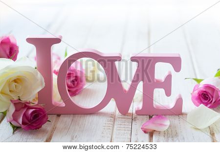 Valentine's day concept with letters