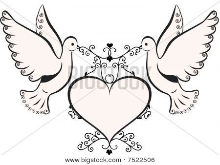 Birds with heart shaped frame