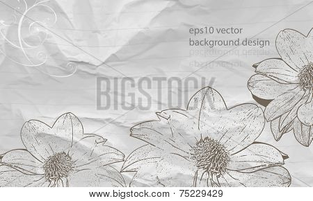 eps10 vector drawing outline flower elements on crumpled white paper background poster