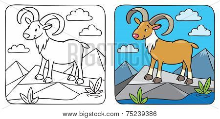 Funny Wild Urial Or Ram Coloring Book