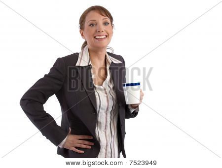 Beautful caucasian businesswoman on her coffee brak smiling at camera poster