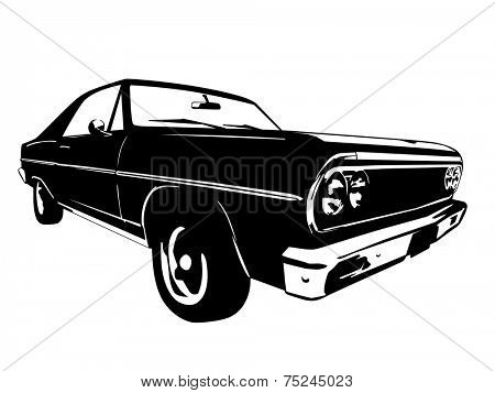 Vintage American Muscle Car Vector Silhouette poster
