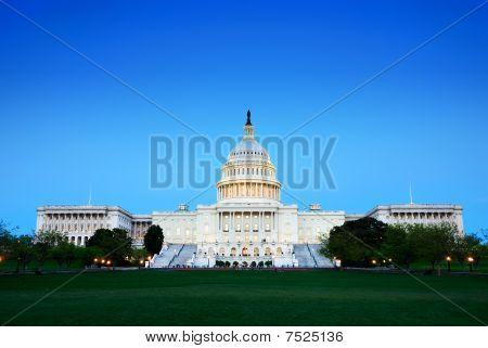 Capitol Hill Building At Dusk, Washington Dc.