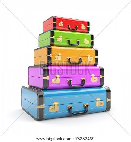 Heap of vintage suitcases