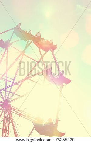 Ferris Whee with Instagram vintage filter poster