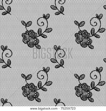 Seamless vector pattern. Lace floral ornament on mesh.