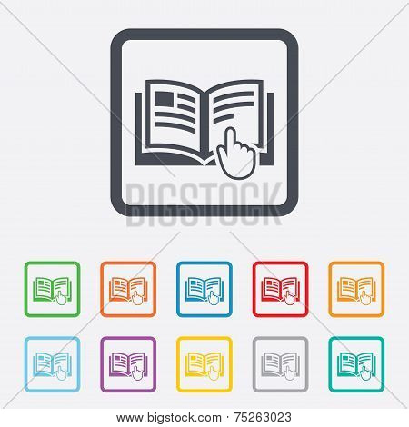 Instruction sign icon. Manual book symbol. Read before use. Round squares buttons with frame. Vector poster
