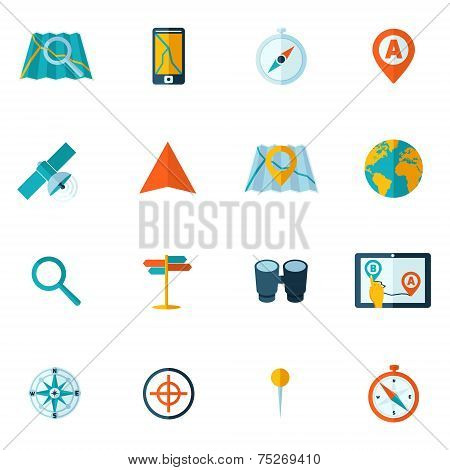 Navigation icon flat set