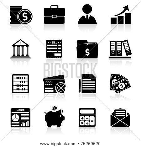 Accounting icons set black