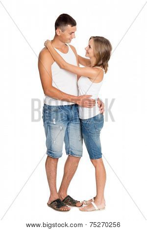 Young enamored couple in breeches and undershirts