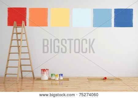 Combination of paint colors as selection on a wall during renovation (3D Rendering)