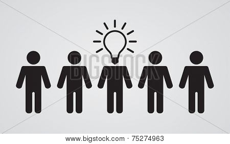 lightbulb head of leader of teamwork group - business concept poster