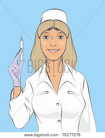 Nurse With A Seringe