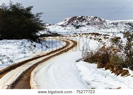 Dirt Road Tracks Snow Mountains