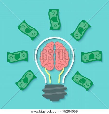 Money and Brain Idea Concept