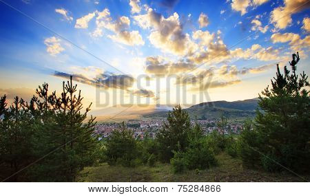 Small Village And Blue Sky