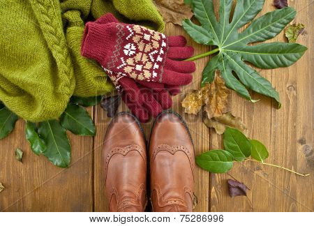 Boots, Gloves And Scarf