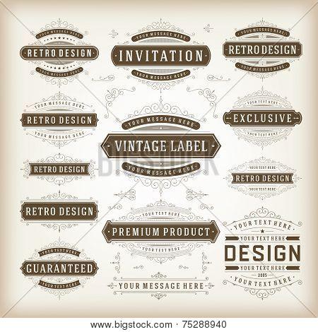 Vector Vintage Labels And Flourishes Swirls Design Elements