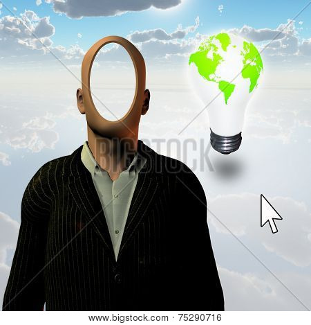 Faceless businessman and eco bulb with computer pointer Elements of this image furnished by NASA
