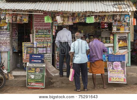 News Stand In Thiruvannamalai, Tamil Nadu.