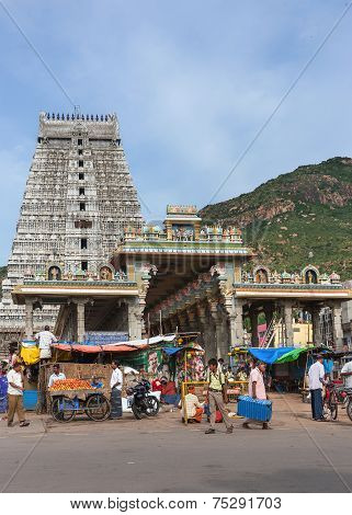 Market, Glorious Covered Marquee, Eastern Gopuram And The Holy Mountain.