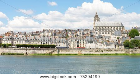 Panorama Cityscape of Blois with Cathedral over Loire river France poster