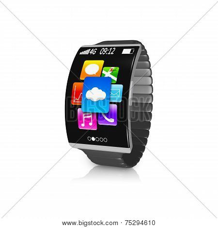 Ultra-thin Black Curved Screen Smartwatch With Metal Watchband