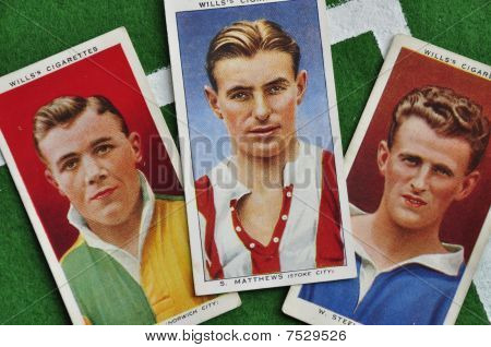 group of cigarette cards showing footballers including Sir Stanley Matthews