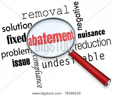 Abatement word under a magnifying glass with related terms like nuisance, solution, removal, fixed, problem, issue, and reduction poster